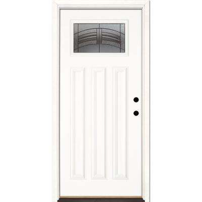 33.5 in. x 81.625 in. Rochester Patina Craftsman Unfinished Smooth Left-Hand Inswing Fiberglass Prehung Front Door