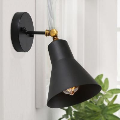 1-Light Wall Sconce Adjustable Modern Wall Sconce with Black Shade and Vintage Brass Accents