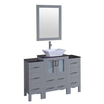 Bosconi 48 in. Single Vanity in Gray with Vanity Top in Black with White Basin and Mirror