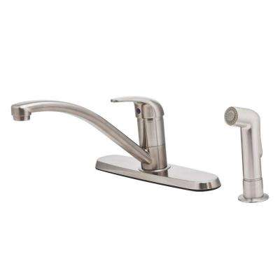 Pfirst Single-Handle Standard Kitchen Faucet with Side Sprayer in Stainless Steel