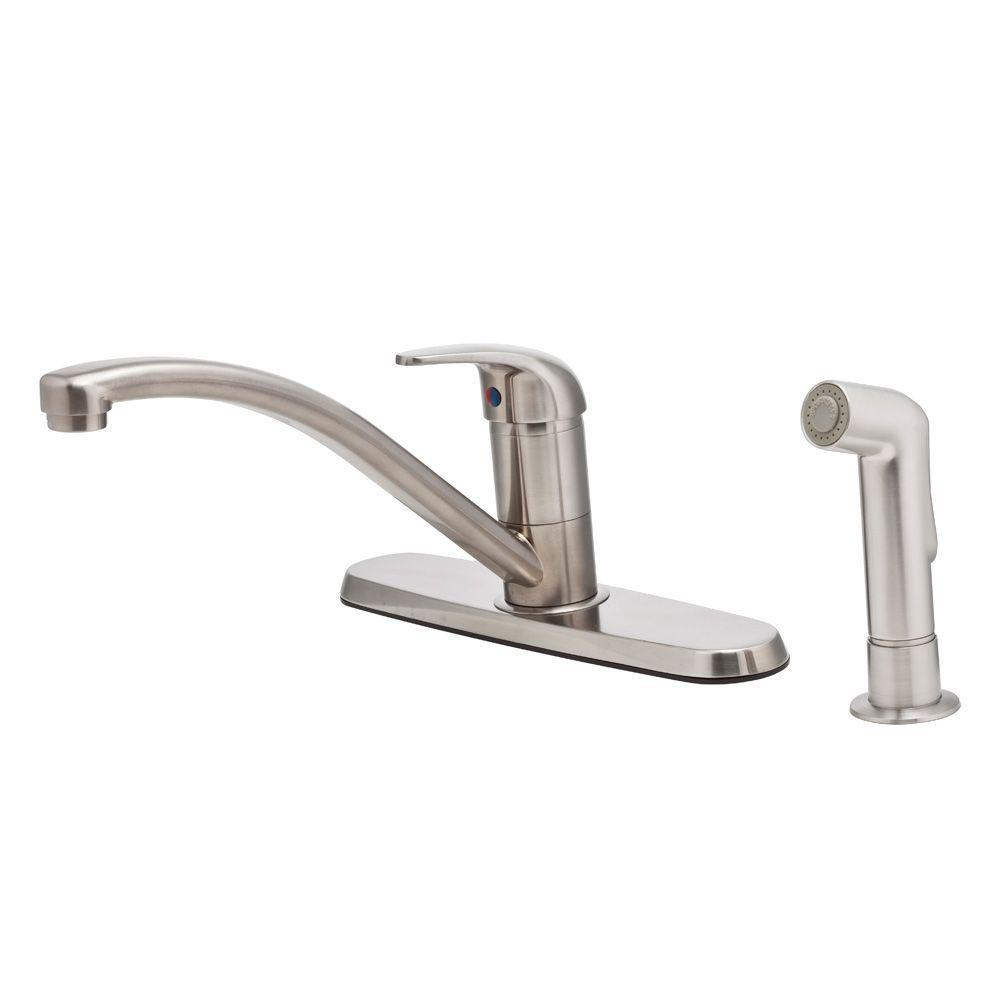 Pfister pfirst single handle standard kitchen faucet with for Best stainless steel kitchen faucets