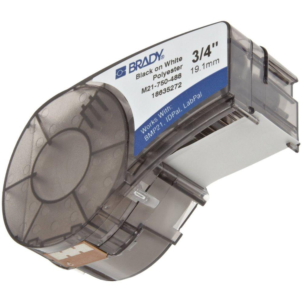 Brady Black-on-White Polyester Label Printer Cartridge