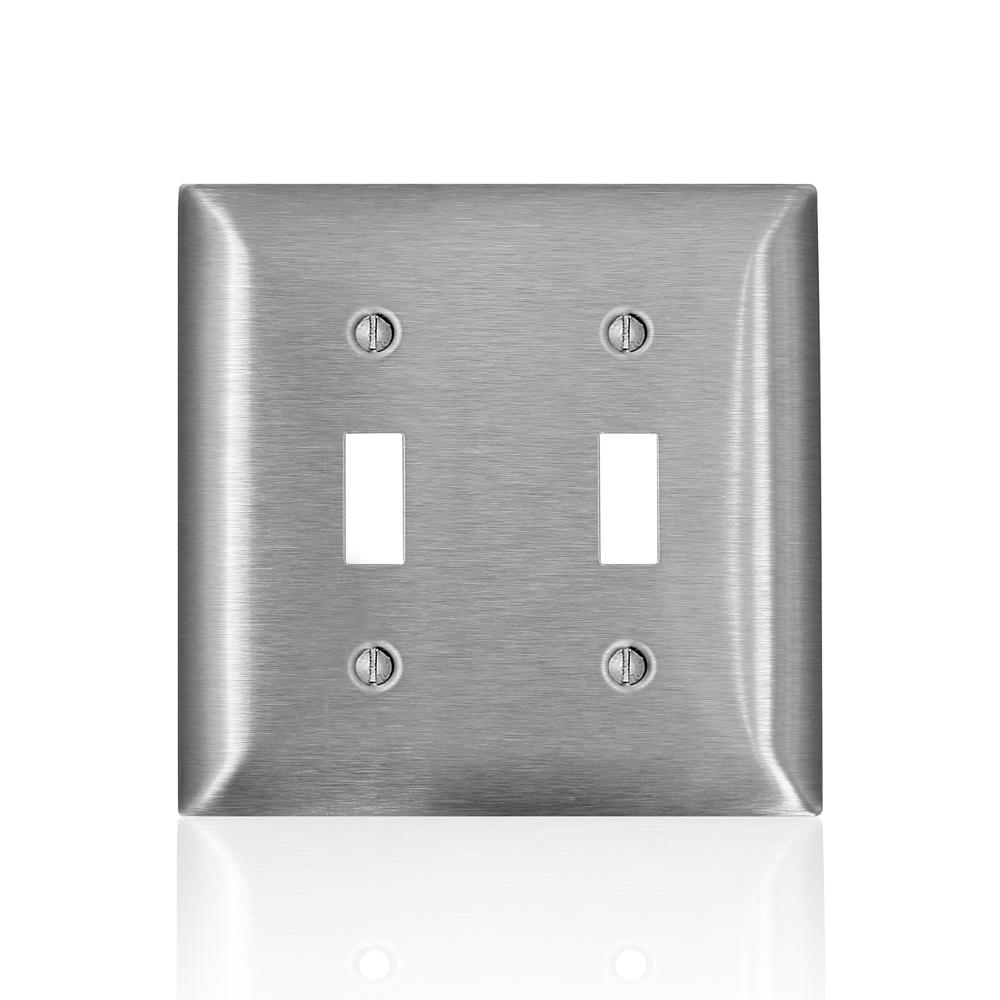 Leviton 2-Gang C-Series 2 Toggle Switch Wallplate, Standard Size, Magnetic Stainless Steel