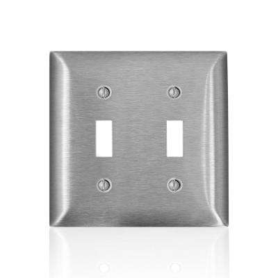 2-Gang C-Series 2 Toggle Switch Wallplate, Standard Size, Magnetic Stainless Steel