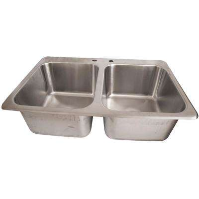 Deep Drawn 2-Compartment S/S Drop-In Sink 31.25 in. L Top Mount Kitchen Sink in Stainless Steel