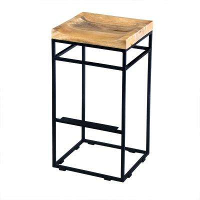29 in. Brown and Black Square Mango Wood Bar Stool with Iron Base and Footrest