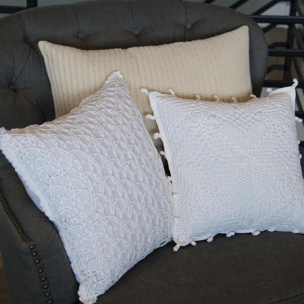 Crochet Envy WHITE (ARTISAN) Artisan Decorative Pillow