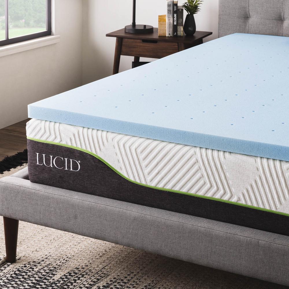 lucid 2 in king gel infused memory foam mattress topper hdlu20kk30gt the home depot. Black Bedroom Furniture Sets. Home Design Ideas