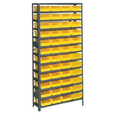 75 in. H x 36 in. W x 12 in. D Plastic Bin/Small Parts Gray Steel Storage Rack with 48 Yellow Bins