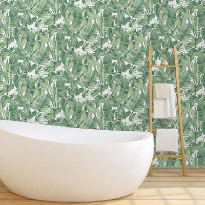 Tropical Jungle Green Self Adhesive Removable Wallpaper