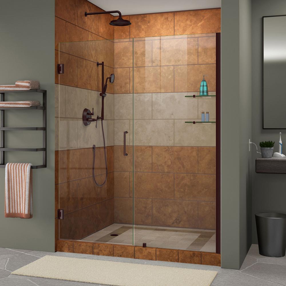 Unidoor 58 in. to 59 in. x 72 in. Frameless Hinged Pivot Shower Door in Oil Rubbed Bronze with Handle