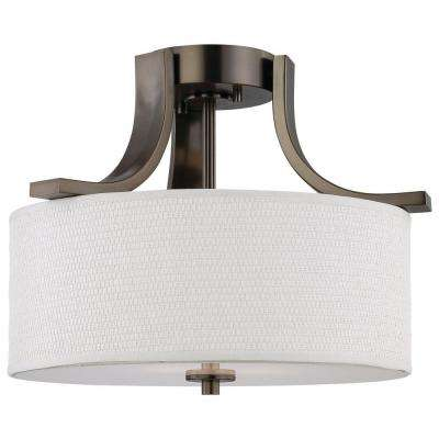 Pendenza 2-Light Oiled Bronze Ceiling Semi-Flush Mount Light