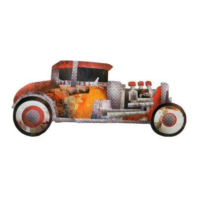 Scrap Metal Hot Rod Embossed Tin Decorative Sign