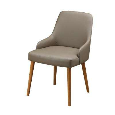 Beige Faux Leather Modern Dining Chairs (Set of 2)