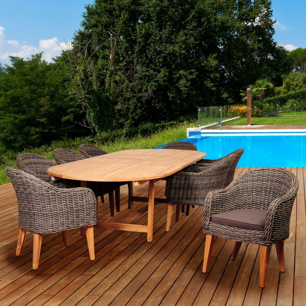 Amazonia fender 9 piece teak wicker double extendable oval for Jardin 8 piece dining set