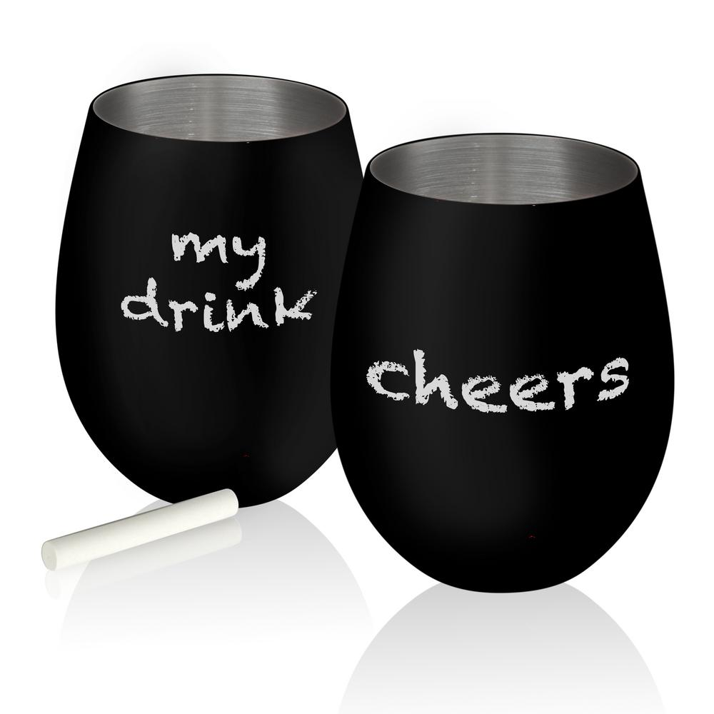 Colton 17 oz. 2-Piece Black Matte on Stainless Steel Stemless Glass Chalkable Set