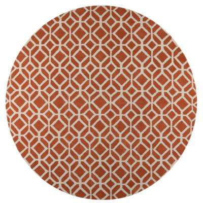 Taza Orange 8 ft. x 8 ft. Round Area Rug