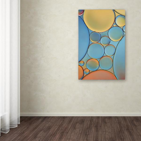 "Trademark Fine Art 24 in. x 16 in. ""Blue and Apricot Drops"" by Cora Niele Printed Canvas Wall Art"