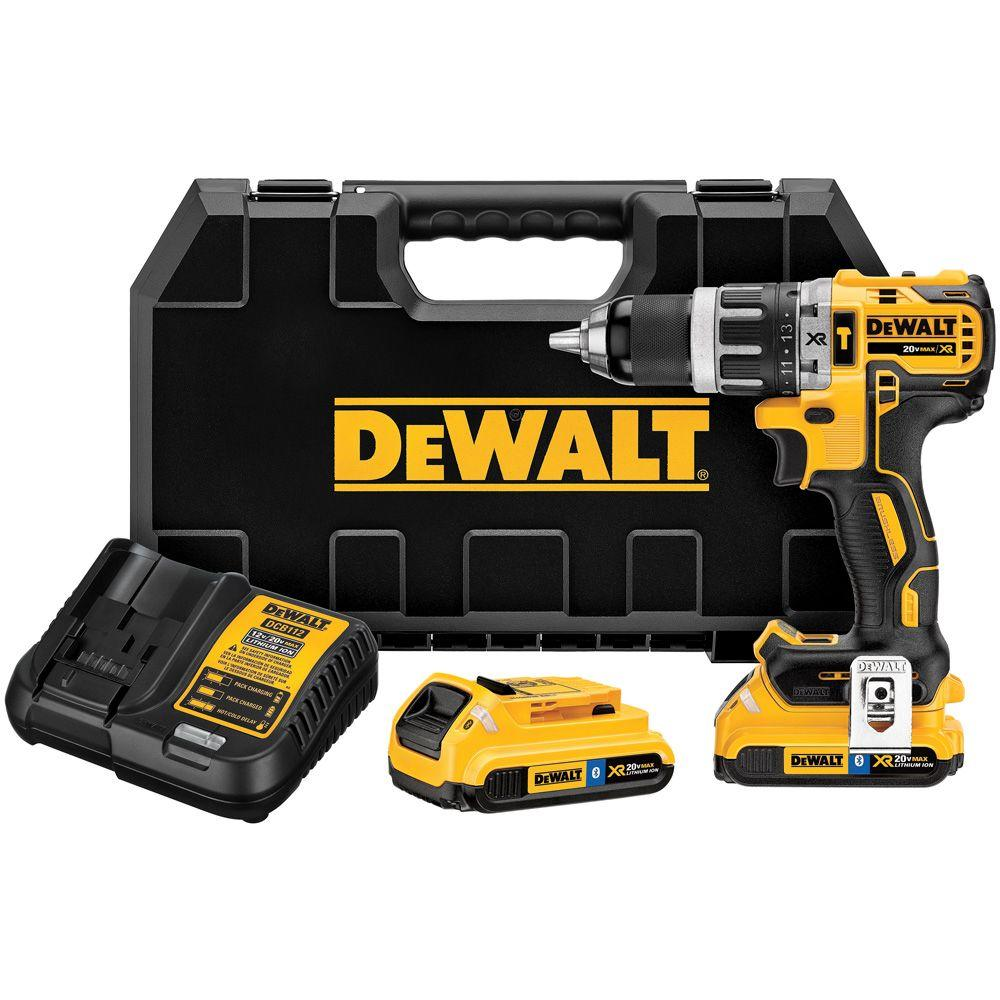DEWALT 20-Volt MAX XR Lithium-Ion Cordless Brushless 1/2 inch Compact Hammer Drill w/ (2) Bluetooth Batteries 2Ah and Charger