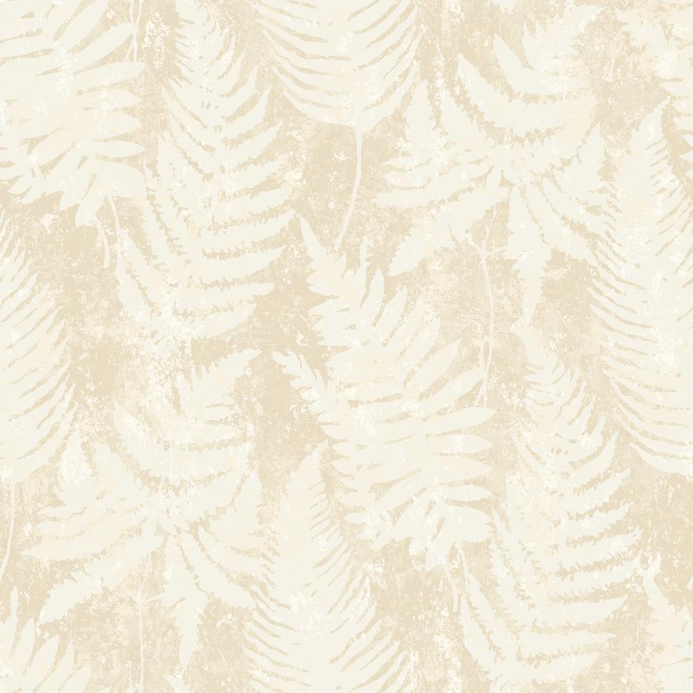 57.8 sq. ft. Whistler Cream Leaf Wallpaper