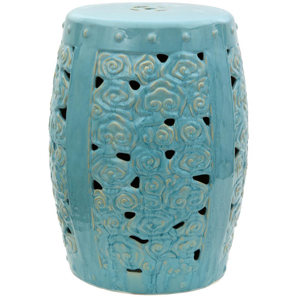 Oriental Furniture Blue Clouds Porcelain Ottoman