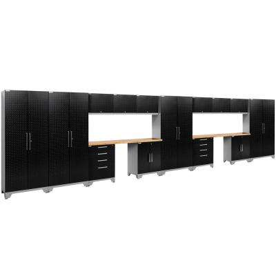 Performance Diamond Plate 2.0 72 in. H x 264 in. W x 18 in. D Garage Cabinet Set in Black (16-Piece)