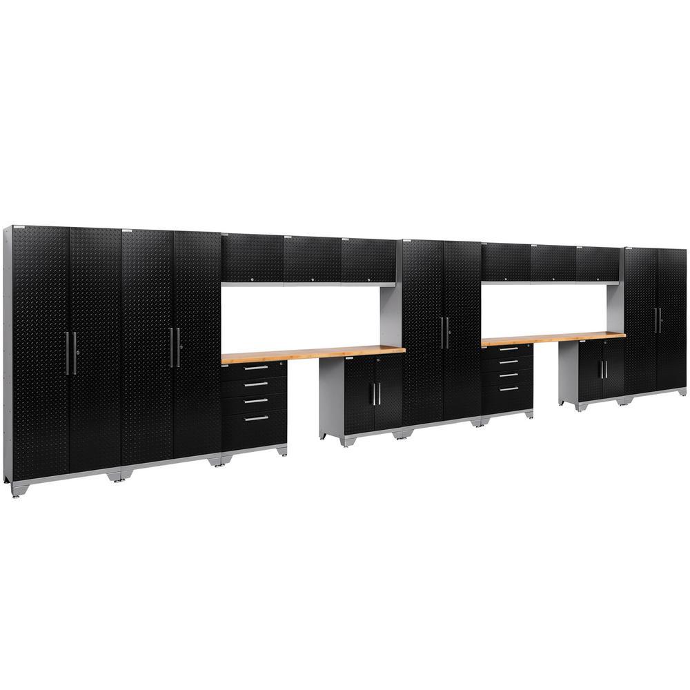 Performance Diamond Plate 2.0 72 in. H x 264 in. W x 18 in. D Garage Cabinet Set in Black (16-Piece)
