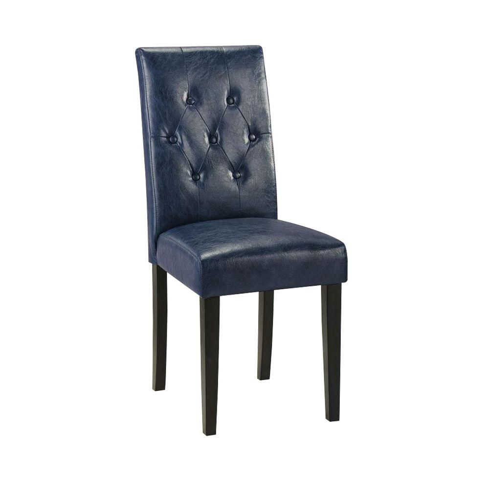 Home Decorators Collection 17.5 in. W Cooper Textured Leather Blue Tufted Parsons Chair