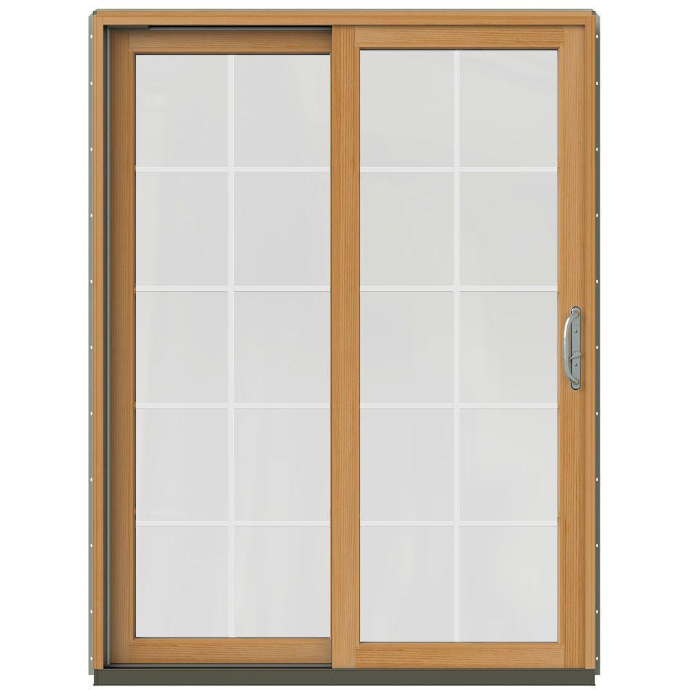 59-1/4 in. x 79-1/2 in. W-2500 Desert Sand Prehung Left-Hand Clad-Wood Sliding Patio Door with 10-Lite Grids