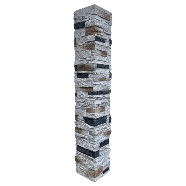 Country Ledgestone 8 in. x 8 in. x 47 in. Dover White Polyurethane Faux Stone Split Post Cover (2-Piece)