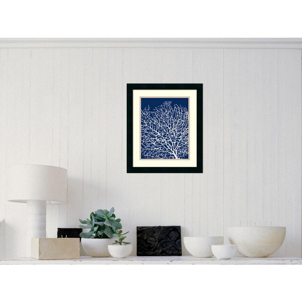 "17 in. W x 20 in. H ""Navy Coral I"" by Sabine Berg Framed Art Print"