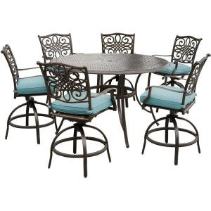 hanover traditions 7 piece aluminum outdoor high dining set with round cast top table and swivel. Black Bedroom Furniture Sets. Home Design Ideas