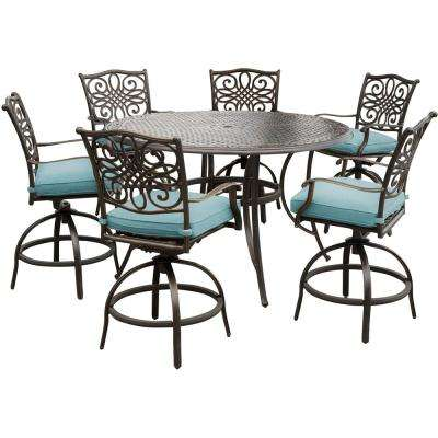 Traditions 7-Piece Aluminum Outdoor High Dining Set with Round Cast-Top Table and Swivel Chairs with Blue Cushions