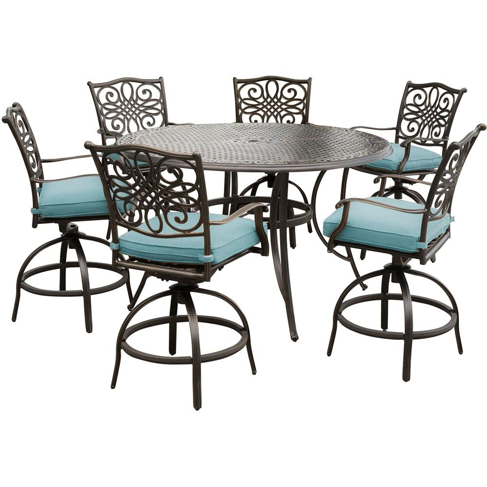 Surprising Hanover Traditions 7 Piece Aluminum Outdoor High Dining Set With Round Cast Top Table And Swivel Chairs With Blue Cushions Machost Co Dining Chair Design Ideas Machostcouk
