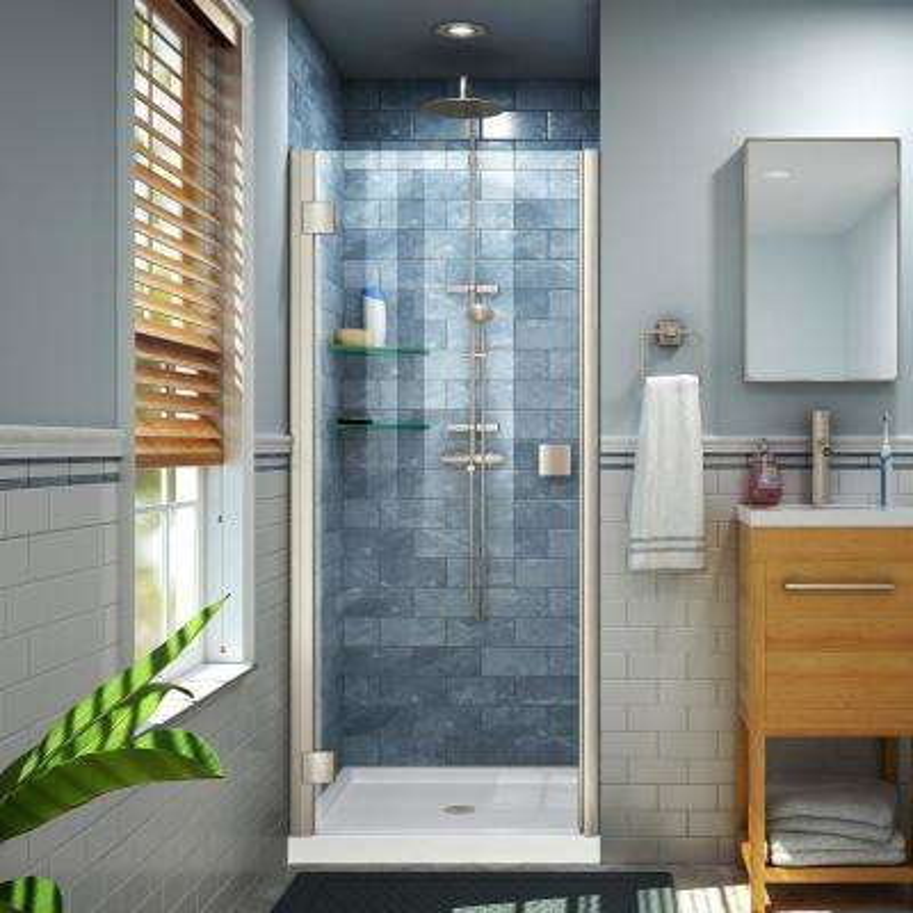 Lumen 42 in. x 72 in. Semi-Frameless Hinged Shower Door in Brushed Nickel with 42 in. x 32 in. Base in White
