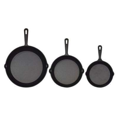 Pre-Seasoned 3-Piece Cast Iron Round Skillets Set