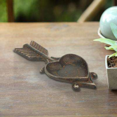 Brown Cast Iron Arrow Heart Trinket Holder