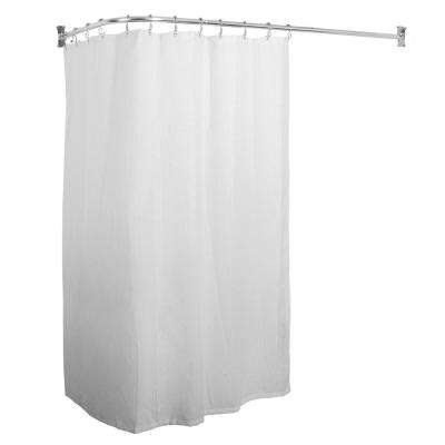 Utopia Alley Rustproof L-Shaped Corner Shower Curtain Rod, Chrome