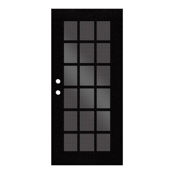 Unique Home Designs 30 In X 80 In Classic French Black Left Hand Surface Mount Security Door With Black Perforated Metal Screen 1s2026cl1bkp5a The Home Depot