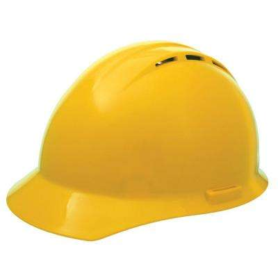Vent 4 Point Nylon Suspension Slide-Lock Cap Hard Hat in Yellow