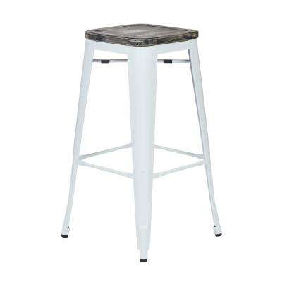 Bristow White 30 in. Metal Bar stool with Vintage Wood Seat