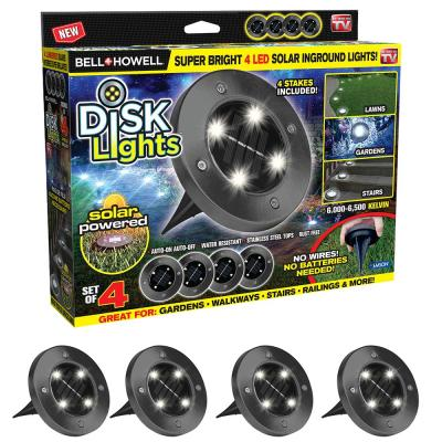 Solar Powered Gunmetal Stainless Steel Outdoor Integrated LED Super Bright In-Ground Path Disk Light (4 per Box)
