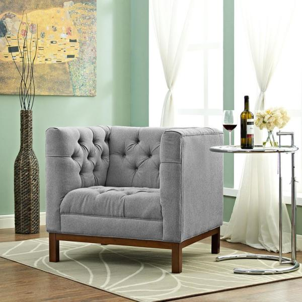 MODWAY Panache Expectation Gray Upholstered Fabric Armchair