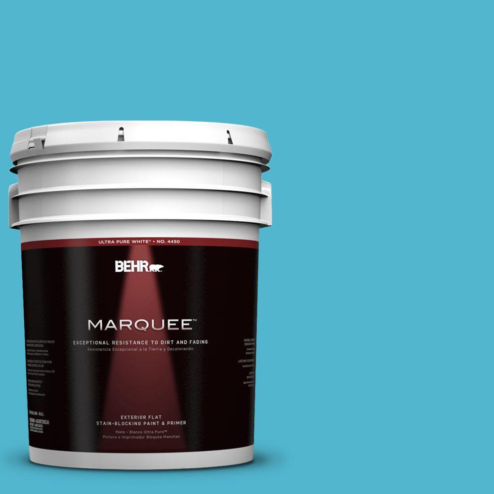 BEHR MARQUEE 5-gal. #520B-5 Liquid Blue Flat Exterior Paint