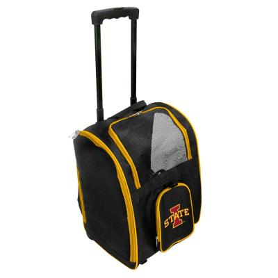 Denco NCAA Iowa State Cyclones Pet Carrier Premium Bag with wheels in Yellow, Team Color