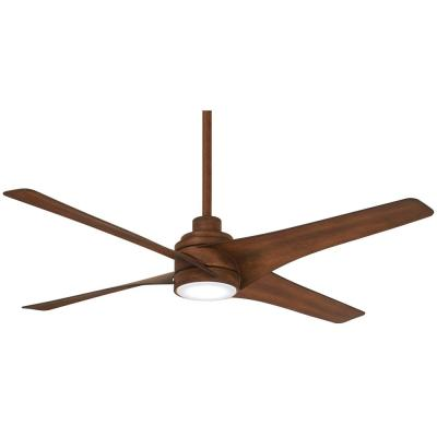 Swept 56 in. Integrated LED Indoor Distressed Koa Ceiling Fan with Light with Remote Control