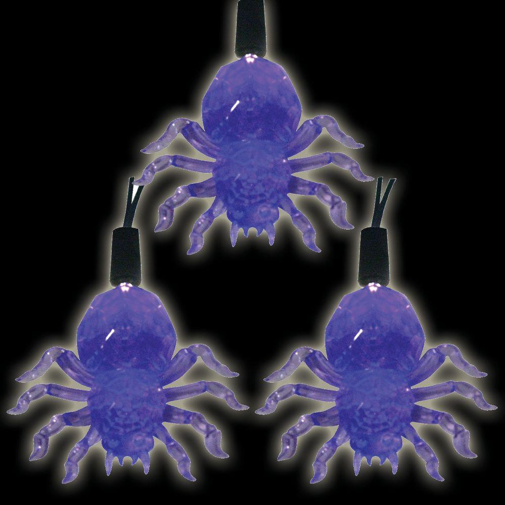 Battery Operated 10-Light LED Purple Halloween Spider Light Set (Set of