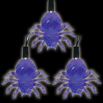 Battery Operated 10-Light LED Purple Halloween Spider Light Set (Set of 2)