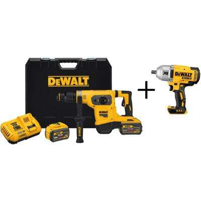 FLEXVOLT 60-Volt MAX Li-Ion 1-9/16 in. Cordless SDS-plus Brushless Combination Rotary Hammer with Bonus Impact Wrench
