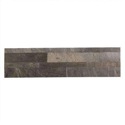 24 in. x 6 in. Peel and Stick Stone Backsplash in Iron Slate